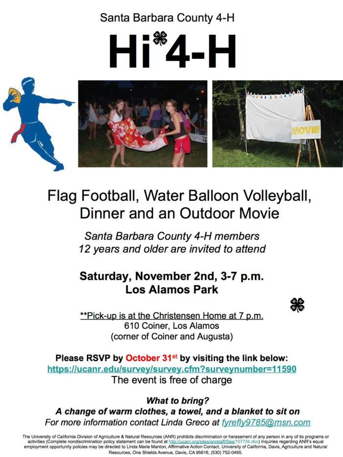 Hi 4-H Flag Football... flyer